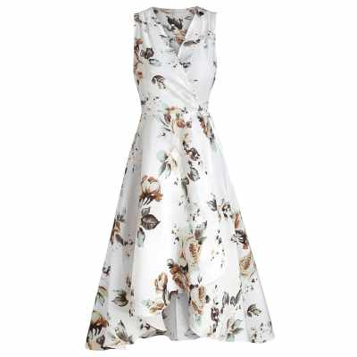 Wrap Floral Print High Low Hem Dress (White)