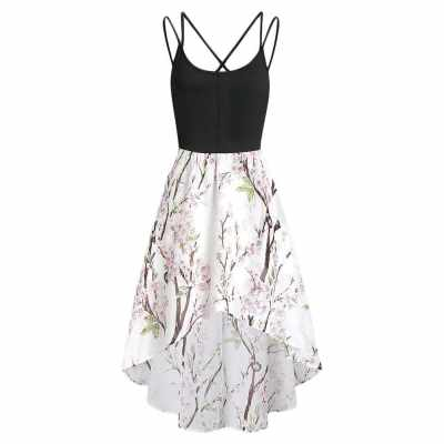High Low Floral Cross Back Cami Dress (White)