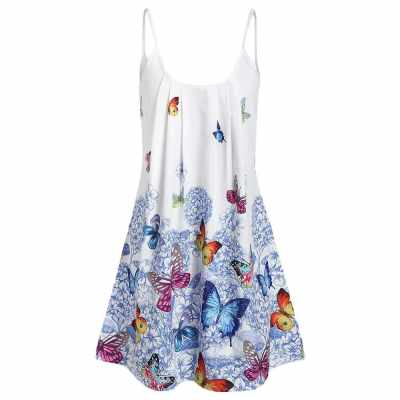 Butterfly Flower Cami Tunic Women Dress (White)
