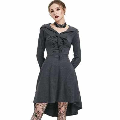 Hooded Lace-up Heathered High Low Gothic Dress (Dark Gray)