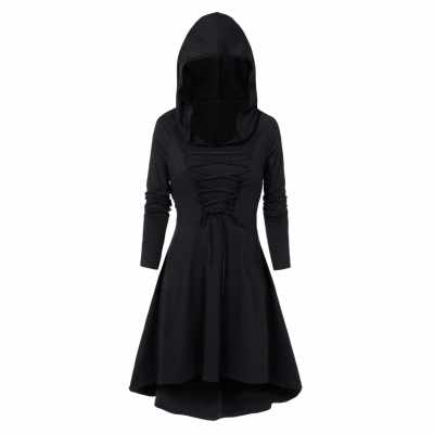 Hooded Lace-up Heathered High Low Gothic Dress (Black)