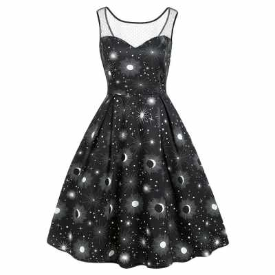 Sun and Moon Print Lace Panel Sleeveless Dress (Black)