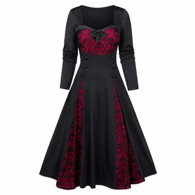 Halloween Skull Lace Insert Long Sleeve Mock Button Dress (Black)