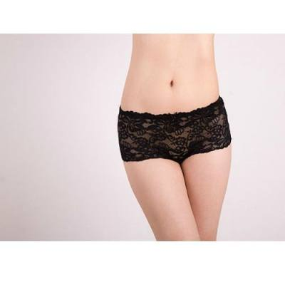 BLACK LACE COTTON SEAMLESS PANTIES YBP001BK (SIZE 2XL)