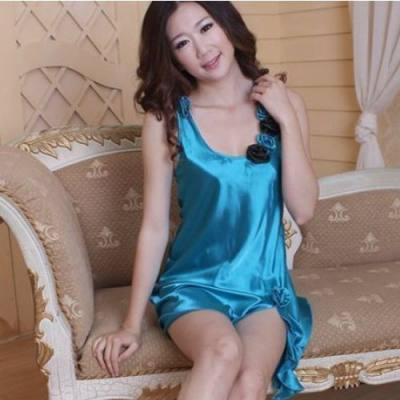 PLUS SIZE SEXY LINGERIE / BABYDOLL JL0103P (BLUE SATIN, SIZE XL)