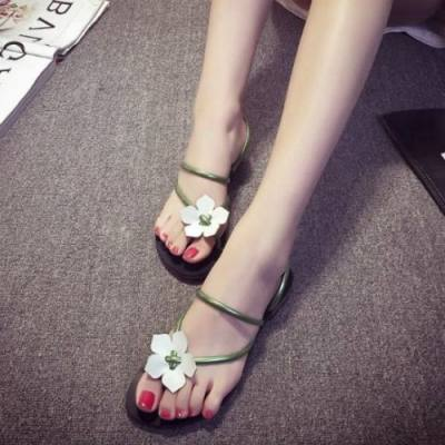 LARGE FLOWERS CASUAL FLAT SANDALS JS0006GR (GREEN, SIZE 40)