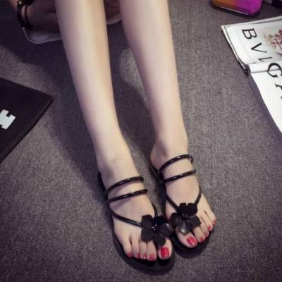 LARGE FLOWERS CASUAL FLAT SANDALS JS0006BK (BLACK, SIZE 39)