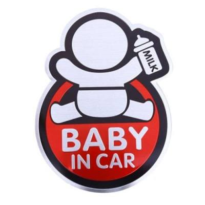SAFETY SIGN BABY IN CAR AUTO DECAL ALLUMINUM ALLOY CAR STICKER
