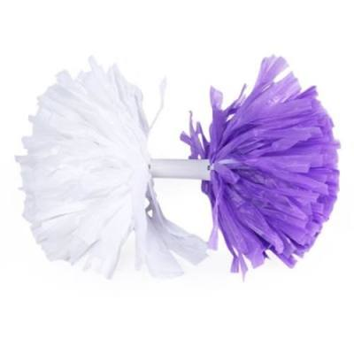 CHEERLEADER POMPON WITH HANDLE FOR SPORTS GAME SQUARE DANCE (WHITE AND PURPLE)