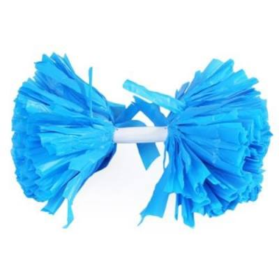 CHEERLEADER POMPON WITH HANDLE FOR SPORTS GAME SQUARE DANCE (BLUE)