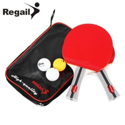 REGAIL 8020 TABLE TENNIS PING PONG RACKET TWO SHAKE-HAND GRIP BAT PADDLE THREE BALLS (RED)