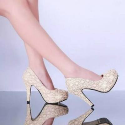 LADIES HIGH HEEL SHOE (BEIGE)