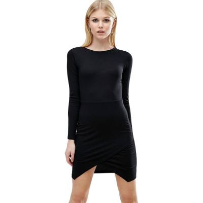 ELEGANT ROUND COLLAR LONG SLEEVE ASYMMETRICAL HEM (BLACK S/M/L/XL)