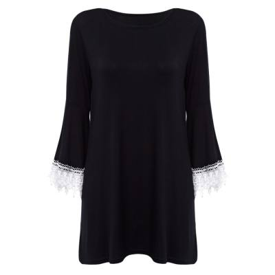 VINTAGE ROUND COLLAR FLARE SLEEVE SPLICED PURE COLOR DRESS FOR LADIES (BLACK M/L/XL/XXL)