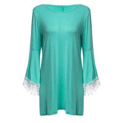 VINTAGE ROUND COLLAR FLARE SLEEVE SPLICED PURE COLOR DRESS FOR LADIES (MINT GREEN M/L/XL/XXL)