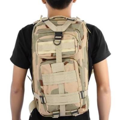 3P MILITARY 30L BACKPACK FOR CAMPING TRAVELING HIKING TREKKING (THREE SAND CAMOUFLAGE)