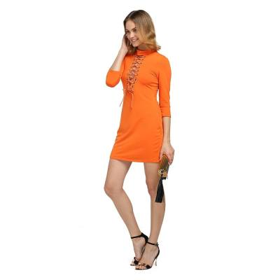 ELEGANT PLUNGING NECK THREE QUARTER SLEEVE CRISS-CROSS SHEATH BODYCON DRESS FOR LADIES (PURE ORANGE, SIZE S/M/L)