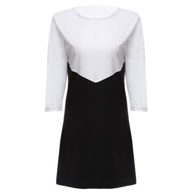 FASHION ROUND COLLAR THREE QUARTER SLEEVE COLOR BLOCK BOTTOM DRESS FOR LADIES (WHITE AND BLACK, SIZE S/M/L/XL)