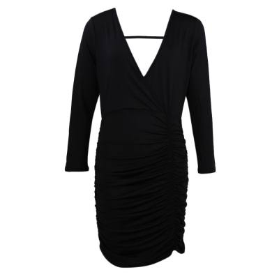 ELEGANT PLUNGING LONG SLEEVE BACKLESS DRAPED PURE COLOR DRESS FOR LADIES (BLACK, SIZE S/M/L/XL)
