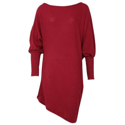 TRENDY ROUND COLLAR BAT WING SLEEVE BODYCON PURE COLOR ASYMMETRICAL WOMEN DRESS (CLARET, SIZE S/M/L/XL)