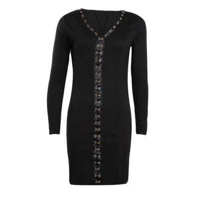 PURE COLOR LONG SLEEVE SKINNY MINI DRESS WITH GOLD HOOKS (BLACK, SIZE S/M/L/XL)