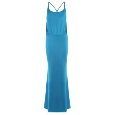 BOHEMIAN BACKLESS SOLID SPAGHETTI STRAP MAXI DRESS (LIGHT BLUE, SIZE S/M/L/XL)