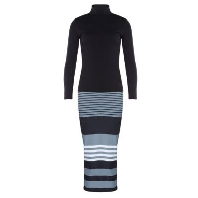 STYLISH SOLID LONG SLEEVE TOP STRIPED SKINNY SKIRT TWO-PIECE DRESS (BLACK, SIZE S/M/L/XL)