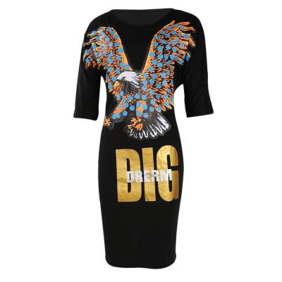 FASHION EAGLE DIG DRERM PRINT ROUND NECK LOOSE DRESS (BLACK, SIZE S/M/L/XL)