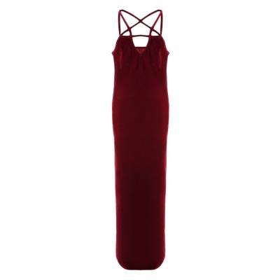 WOMEN'S PURE COLOR PLEUCHE SPAGHETTI STRAP HIGH SPLIT DINNER DRESS (CLARET, SIZE S/M/L/XL)