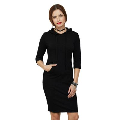 CASUAL HALF SLEEVE POCKET PURE COLOR PULLOVER WOMEN HOODIE (BLACK, SIZE S/M/L/XL/2XL)