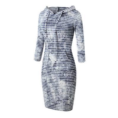 CASUAL LONG SLEEVE HOODED STRIPE TIE-DYE WOMEN DRESS (LIGHT BLUE, SIZE S/M/L/XL/2XL)