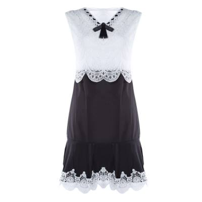 FASHION BLACK WHITE LACE V-NECK MINI A-LINE DRESS WITH BOWKNOT DECORATION (WHITE AND BLACK, SIZE S/M/L/XL/2XL)