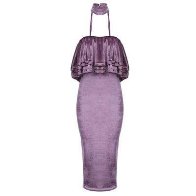 WOMEN'S SLEEVELESS BACKLESS RUFFLES DRESS (PURPLE, SIZE S/M/L/XL)