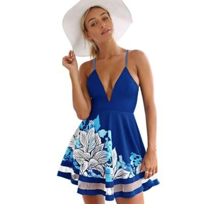 WOMEN'S SPAGHETTI STRAP PADDED ZIPPER FLORAL PRINT ORGANZA PATCHWORK A-LINE MINI SUMMER DRESS (PURPLISH BLUE, SIZE S/M/L/XL)