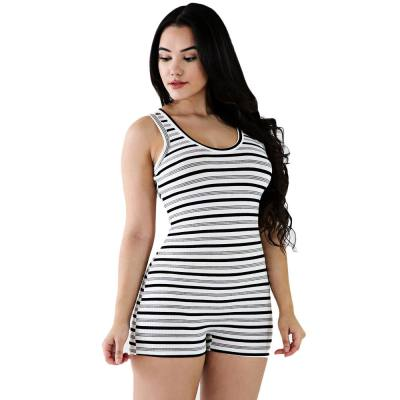 CASUAL U NECK ALLOVER STRIPE BODYCON ROMPER FOR WOMEN (WHITE AND BLACK, SIZE S/M/L/XL)