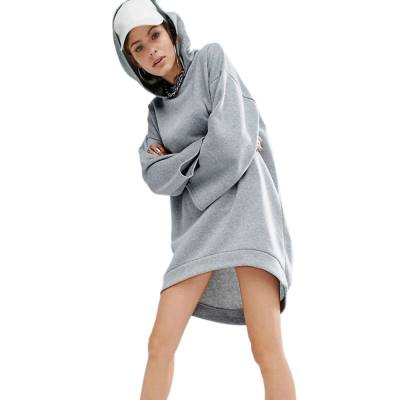CASUAL HOODED 3/4 SLEEVE PURE COLOR LOOSE-FITTING DRESS FOR WOMEN (GRAY, SIZE S/M/L/XL)