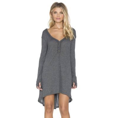 CASUAL V-NECK BUTTON DESIGN ASYMMETRICAL LOOSE DRESS FOR WOMEN (GRAY, SIZE S/M/L/XL)