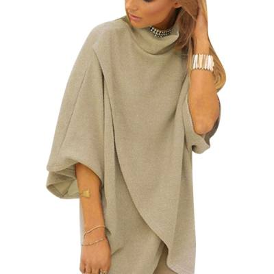 TRENDY STAND COLLAR HALF SLEEVE PURE COLOR ASYMMETRICAL WOMEN DRESS (LIGHT CAMEL, SIZE S/M/L)