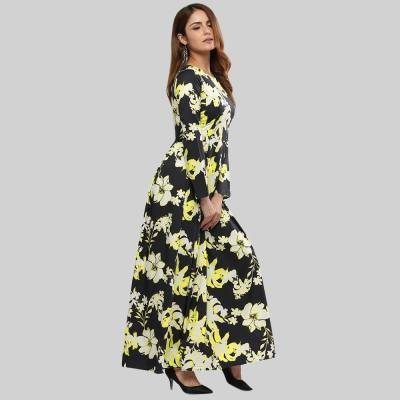 RETRO STYLE ROUND COLLAR SASH WAIST A-LINE FLORAL DRESS FOR WOMEN (YELLOW, SIZE S/M/L/XL/2XL/3XL/4XL/5XL)