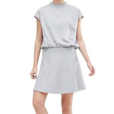 WOMEN'S BRIEF LOOSE T-SHIRT + A-LINE SKIRT TWINSET (GRAY, SIZE S/M/L/XL)