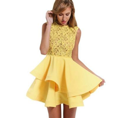 WOMEN'S STYLISH EMBROIDERY LAYERED MINI DINNER DRESS (YELLOW, SIZE S/M/L)