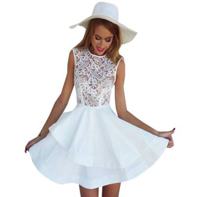 WOMEN'S STYLISH EMBROIDERY LAYERED MINI DINNER DRESS (WHITE, SIZE S/M/L)