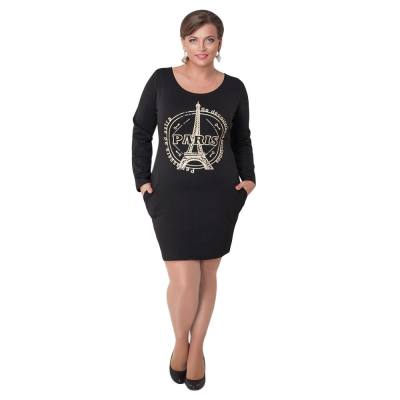 WOMEN'S CASUAL SCOOP COLLAR LONG SLEEVE PRINTED SIDE POCKET DRESS (BLACK, SIZE L/XL/3XL)