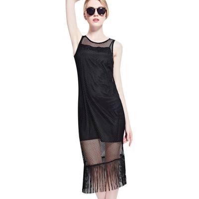 WOMEN STYLISH HOLLOW OUT TASSEL TWINSET DRESS (BLACK, SIZE S/M/L/XL)