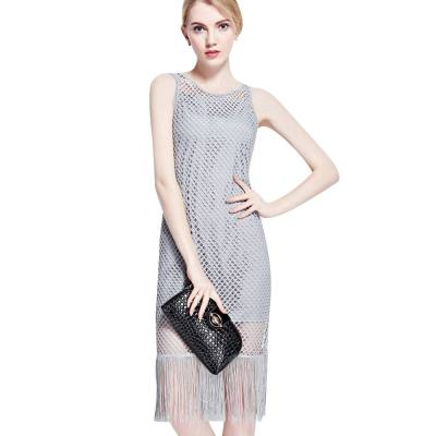 WOMEN STYLISH HOLLOW OUT TASSEL TWINSET DRESS (GRAY, SIZE S/M/L/XL)