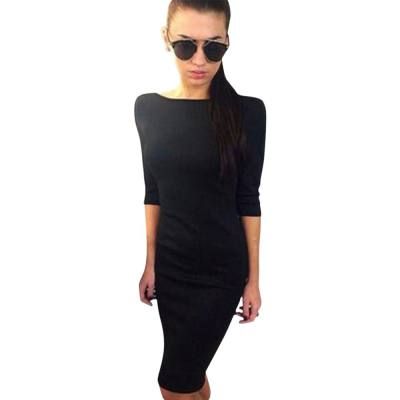 WOMEN'S BACKLESS BOWKNOT DESIGN BODYCON DRESS (BLACK, SIZE M/L/XL/2XL)