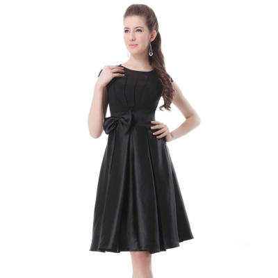 ELEGANT ROUND COLLAR BOWKNOT DESIGN BALL GOWN DRESS FOR WOMEN (BLACK, SIZE M/L/XL/2XL)