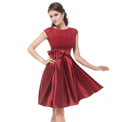 ELEGANT ROUND COLLAR BOWKNOT DESIGN BALL GOWN DRESS FOR WOMEN (WINE RED, SIZE M/L/XL/2XL)