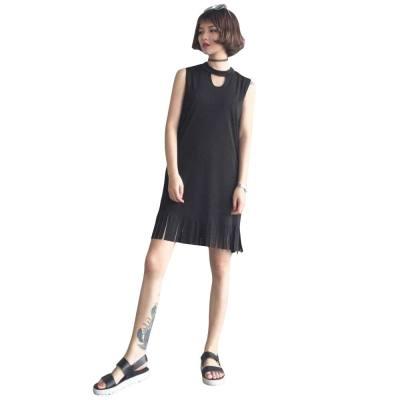 WOMEN KEYHOLE NECK SLEEVELESS FRINGED BLACK MINI DRESS (BLACK, ONE SIZE FIT XS TO M)