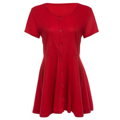 WOMEN'S CASUAL SHORT SLEEVE FRONT SINGLE-BREASTED PATCHWORK MINI DRESS (RED, SIZE S/M/L/XL)